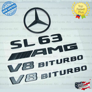 R231 Sl63 Amg V8 Biturbo Rear Star Emblem Black Badge Set For Mercedes