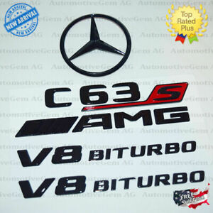 W205 Sedan C63s Amg V8 Biturbo Rear Star Emblem Black Badge Combo Set Mercedes
