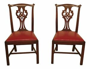 47642ec Pair Henkel Harris Chippendale Mahogany Model 101 Side Chairs