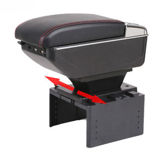 Universal Car Armrest Consoles Storage Box With Cup Holder Ashtray Arm Rest