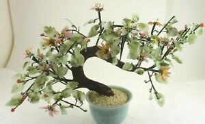 Vintage Asian Jade Agate Glass Leaves Flowers Bonsai Tree Celadon Vase