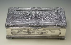 Antique Jennings Bros Repousse Silver Plated Jewelry Box Casket Marked Jb