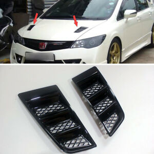 Painted Black Bonnet Hood Vent For Honda Civic Rr Universal Air Scoop Duct Vent