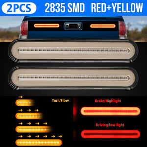 2pcs 100 Led Halo Neon Dual Color Car Truck Flowing Turn Signal Brake Tail Light