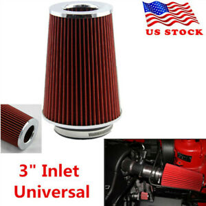 3 Inlet Long Ram Cold Air Intake Filter Cone Filter Red Universal Kn Types Us