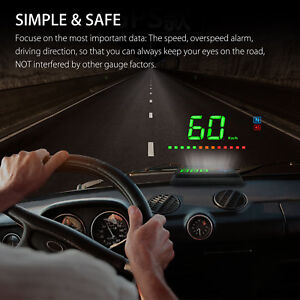 3 5 Head Up Display Hud Gps Led Speedometer Color Projection Overspeed Warning