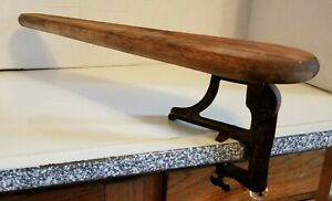 Antique Pat 1903 Wooden Sleeve Ironing Board Cast Iron Clamp On Primitive Decor