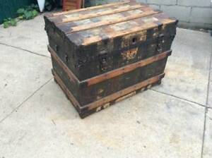 1800s Antique Steamer Chest Shipping Trunk