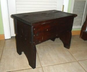 Antique Primitive Hand Made Storage Stool Bench Box Blanket Hope Toy Chest