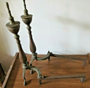 Brass And Iron Andirons Fireplace Wood Stove Marked 115 L Vintage