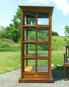 Antique C1900 Rare Oak Bakery Pie Safe Display Showcase Collection Cabinet 74 T