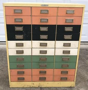 Vtg 60s Steelmaster Colorful Mcm Metal File Cabinet 30 Drawers Jewelry Art Chest