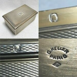 Antiq French Sterling Silver G Keller Paris Gk Hallmarks Guilloche Jewelry Box