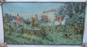 Antique Woven French Victorian Tapestry 20x38 Equestrian Hunting Dogs Horses