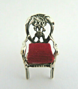925 Sterling Silver Chair With Red Velvet Cushion Sewing Pin Cushion