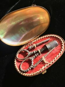 Antique Mother Of Pearl Sewing Box Etui Necessaire Silver Thimble C 1890