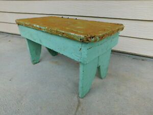 Antique Grandpa Made Painted Lil Old Wood Farm Stool Painted Green Country Farm