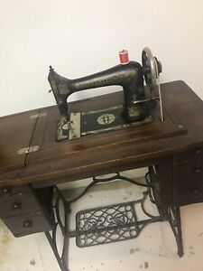 Antique Franklin Treadle Sewing Machine With Table