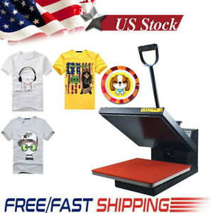 Clamshell Heat Press Machine Transfer Sublimation 15x15inch For Cloth T shirt Us