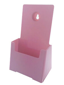 Qty 50 Pink Literature Display Tri Fold Holders Holds 4 Wide Folded Flyers