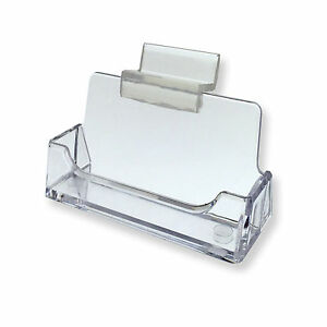 Slatwall Clear Plastic Business Card Holder Display Stand Desk Rack Qty 2