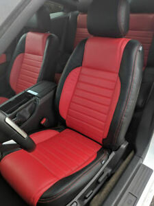 Katzkin Blk Red Repla Leather Int Cvrs Fits 2013 2014 Ford Mustang Coupe V6 Gt