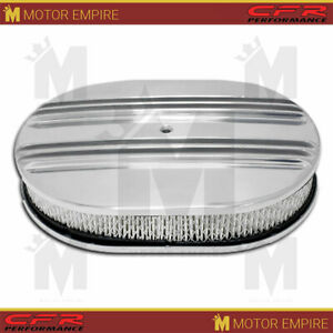For Chevy Ford Mopar 12 Oval Polished Aluminum Air Cleaner Partial Finned