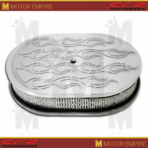 Fits 5 1 8 Neck 4 Barrel 12 Oval Polished Aluminum Air Cleaner Ball Milled