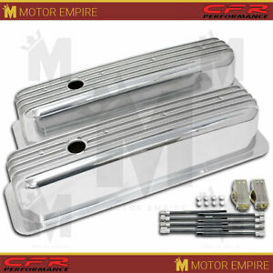 Fits 1987 97 Chevy 5 0l 5 7l Tall Polished Al Center Bolt Valve Covers Finned
