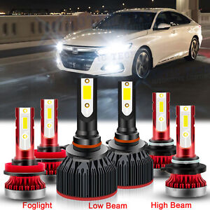 6 Led Full Headlight Kit Daytime Drl Fog High Low Beam For Honda Civic 2006 15