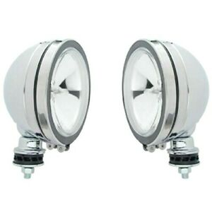 6 Round Off Road Utility Lights Chrome Halogen Clear Lens 12v 75w X2 Work Pair