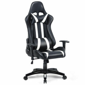 Executive Racing High Back Reclining Chair Office Computer Chair black white