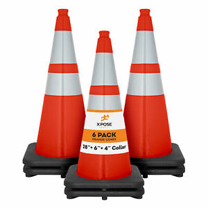 6 Of Orange Traffic Cones 28 Inch With 6 4 Collar Pvc Plastic Safety Cone