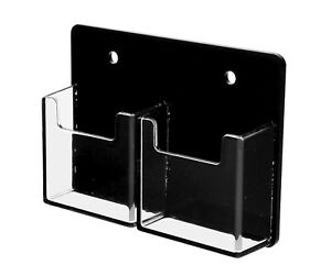 Vertical Business Card Holder 2 Pocket Wall Mount Black Clear Acrilyc