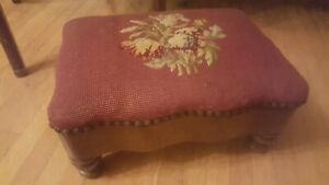 Antique Floral Red Needlepoint Solid Wood Foot Stool Ottoman