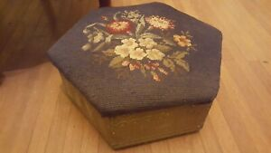 Antique Vtg Floral Needlepoint Carved Solid Wood Foot Stool Ottoman Blue White