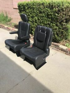New Black Leather Suede Bucket Seats W Moutning Base For Rv Sprinter Motorhome