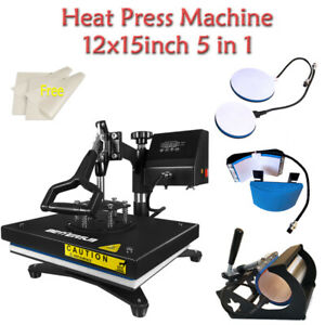 5 In 1 Heat Press Machine Sublimation 12x15inch For T shirt Mug Cup Plate Hat Us