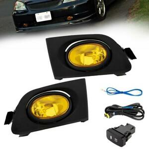 For Honda Civic 01 03 Yellow Lens Pair Bumper Fog Light Lamp Wiring Switch Kit