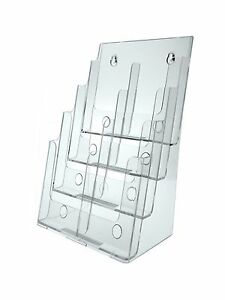 4 Tier Brochure Holder For 8 5 w Literature Pamphlet Clear Acrylic Wall Table