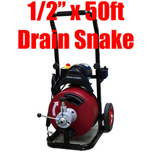 Commercial 50ft 1 2 Electric Drain Auger Sewage Cleaner Machine Snake W cutter