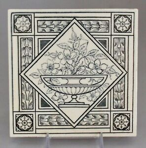 Antique Minton Hollins 6 Tile Victorian Aesthetic Floral Black