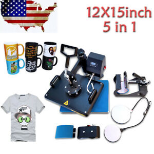 5 In 1 Combo Heat Press Machine Digital 12x15in For T shirt Mugs Plate Hats Cup