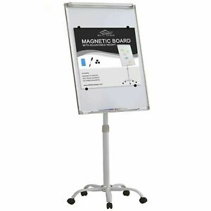 Mobile Magnetic Dry Erase White Board W 5 Locking Wheels Adjustable Height