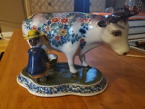 Tichelaar Makkum Delftware China Pottery Figurine Large Cow Milk Maid