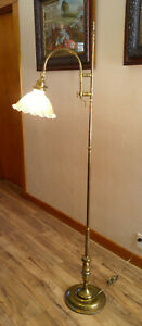 Vintage Mid Century Brass Adjustable Bridge Arm Floor Lamp Glass Shade