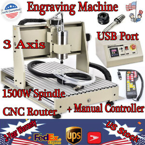 Usb 3 Axis 1500w Cnc 6040 Router Engraver Dril Mill 3d Carving Cutting Machine