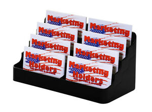 Black Eight Pocket Business Card Holder Stand Display Acrylic Qty 24
