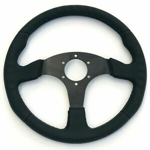 Black Stitch Leather Steering Wheel Flat 340mm For Momo Racing Drifting Nd