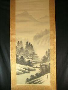 Antique C 1920 Japanese Signed Scroll Mountain River Scenery